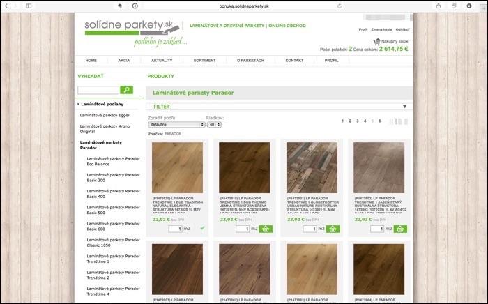 E-shop, online objednavky, podlahy, parkety, plávajúce